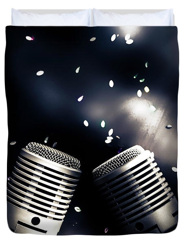 Microphone Duvet Cover featuring the photograph Microphone Club by Jorgo Photography - Wall Art Gallery