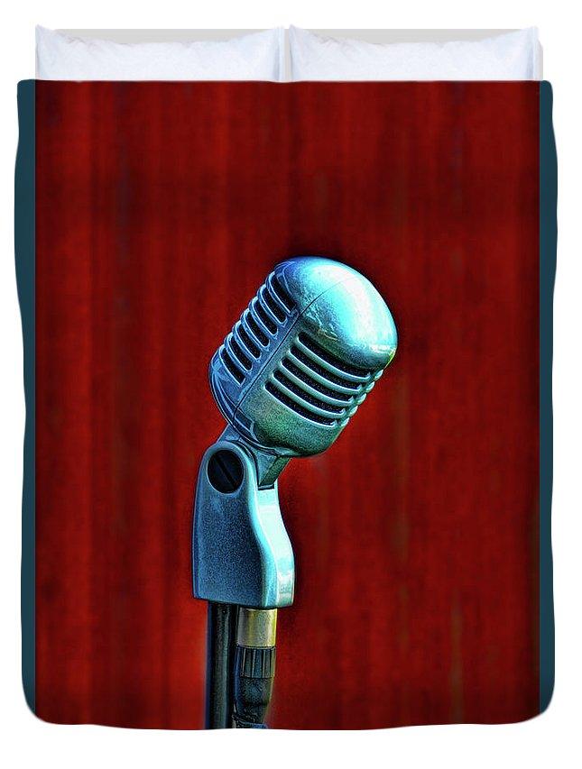 Microphone Duvet Cover featuring the photograph Microphone by Jill Battaglia