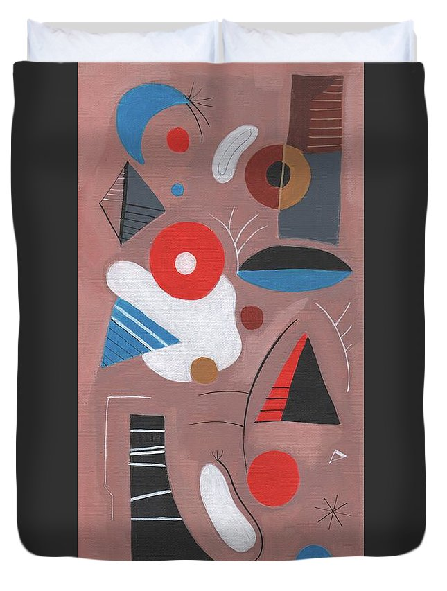 Mid-century Modern Earth Tones Space Age Atomic Energy Late 50's Miro Style Duvet Cover featuring the painting Mid-century Modern #2 by Kenneth Patterson