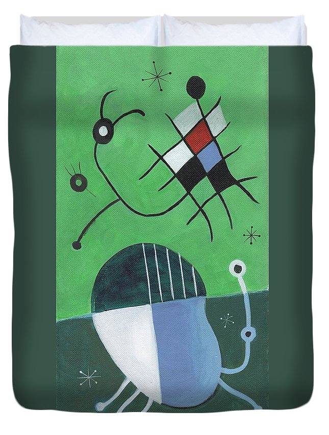 Mid-century Modern Earth Tones Space Age Atomic Energy Late 50's Miro Style Duvet Cover featuring the painting Mid-century Modern #3 by Kenneth Patterson