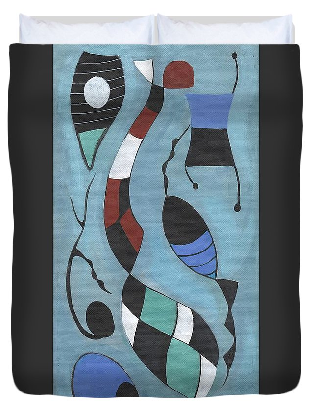Mid-century Modern Earth Tones Space Age Atomic Energy Late 50's Miro Style Duvet Cover featuring the painting Mid-century Modern #7 by Kenneth Patterson