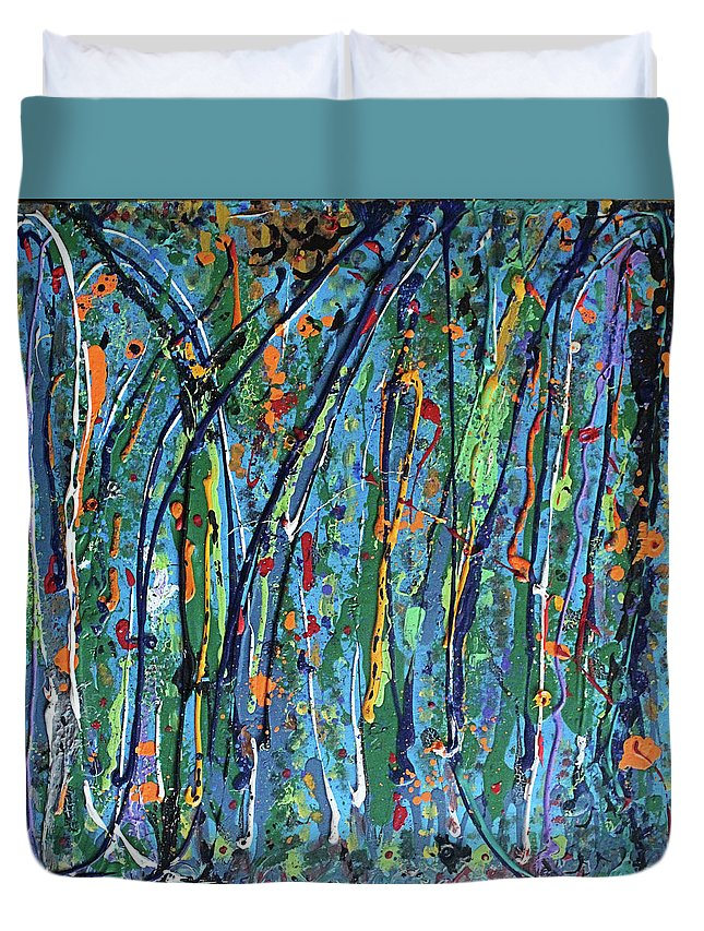 Bright Duvet Cover featuring the painting Mid-Summer Night's Dream by Pam Roth O'Mara