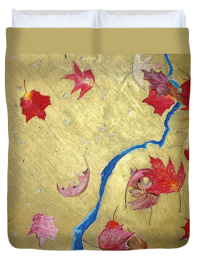 Abstract Duvet Cover featuring the painting Midas Fall by Steve Karol
