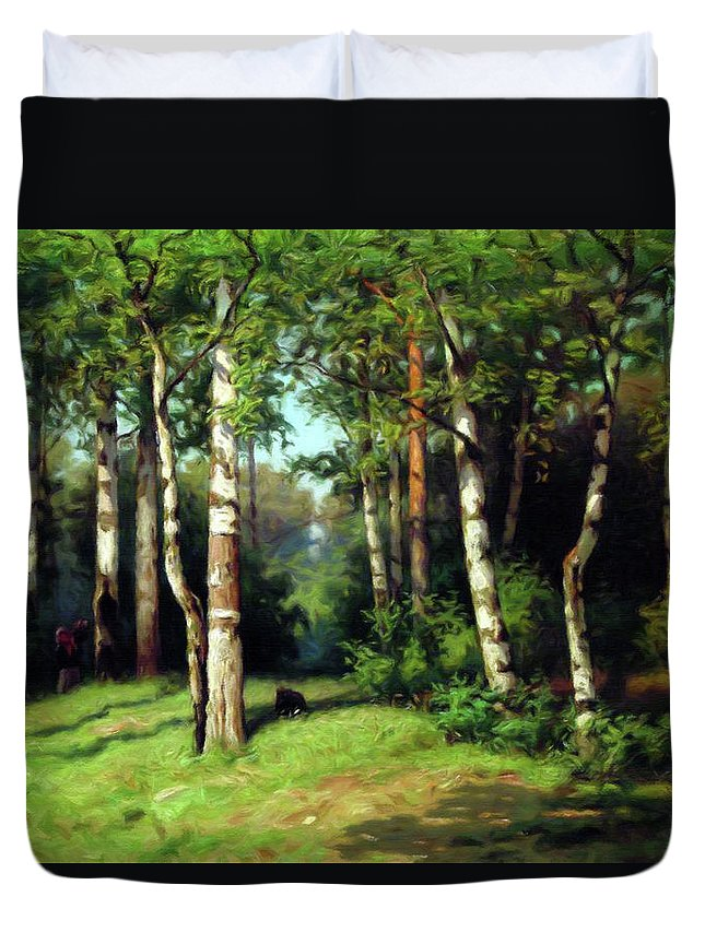 Midday Warmth In A Forest Impressionism Duvet Cover featuring the mixed media Midday Warmth In A Forest Impressionism by Georgiana Romanovna