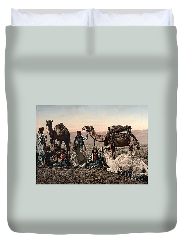 1890s Duvet Cover featuring the photograph Middle East: Travelers by Granger