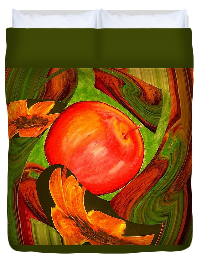 Apple Duvet Cover featuring the digital art Middle Of The Garden by Melvin Moon