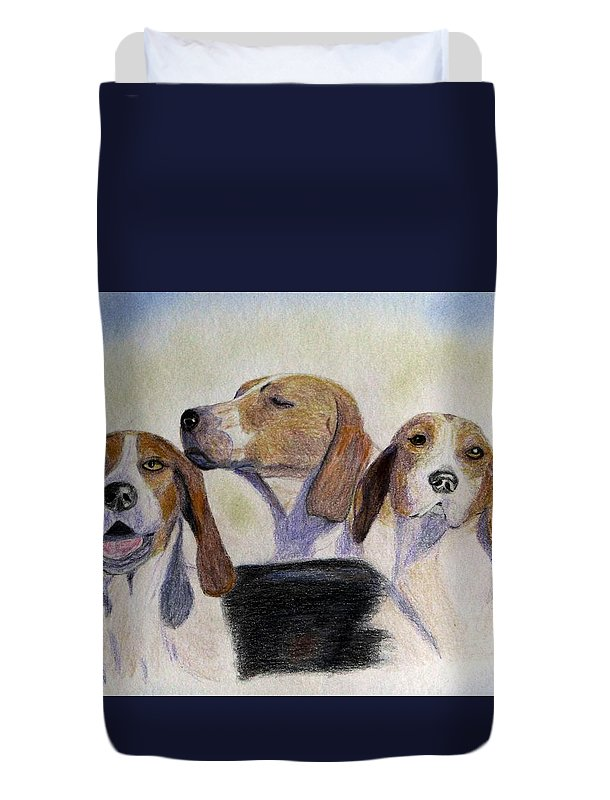 Foxhunting Duvet Cover featuring the drawing Middleburg Hounds by Angela Davies