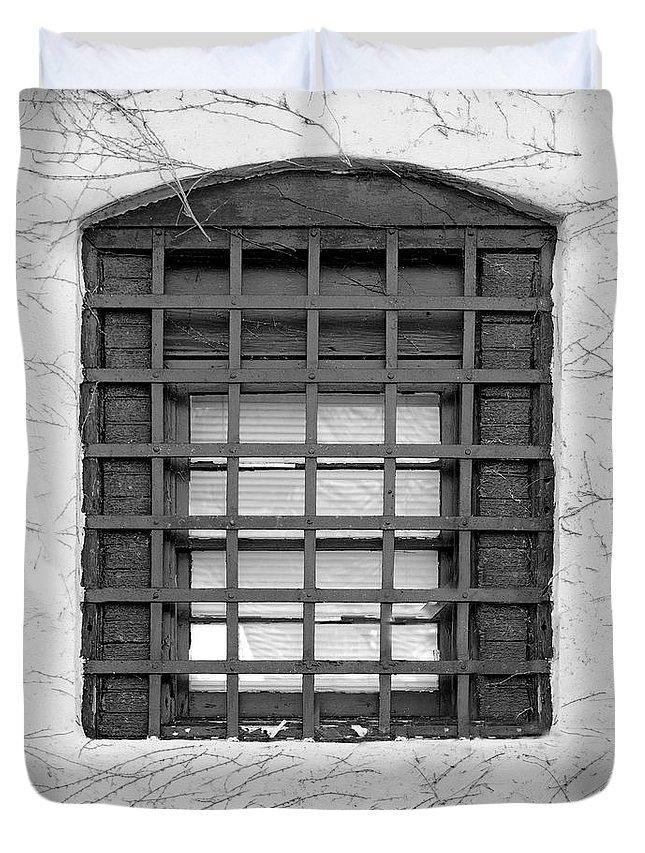 Window Bar Bars Duvet Cover featuring the photograph Midieval Window 7385 by Ken DePue