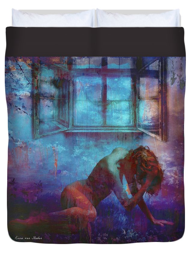 Woman Duvet Cover featuring the digital art Midnight Dreams by Riana Van Staden