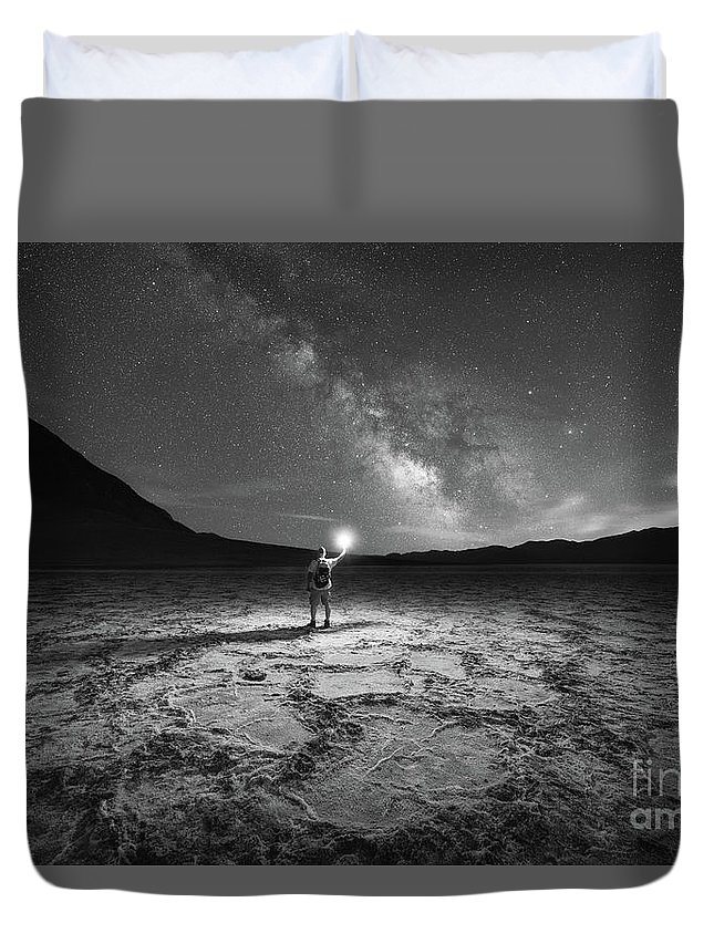 Badwater Basin Duvet Cover featuring the photograph Midnight Explorer At Badwater Basin Bw by Michael Ver Sprill