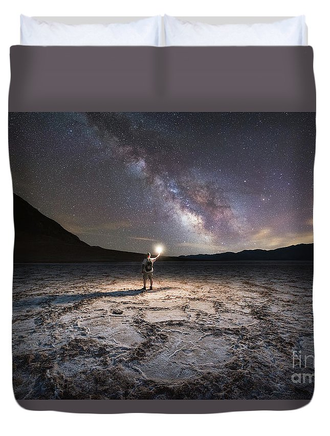 Badwater Basin Duvet Cover featuring the photograph Midnight Explorer At Badwater Basin by Michael Ver Sprill