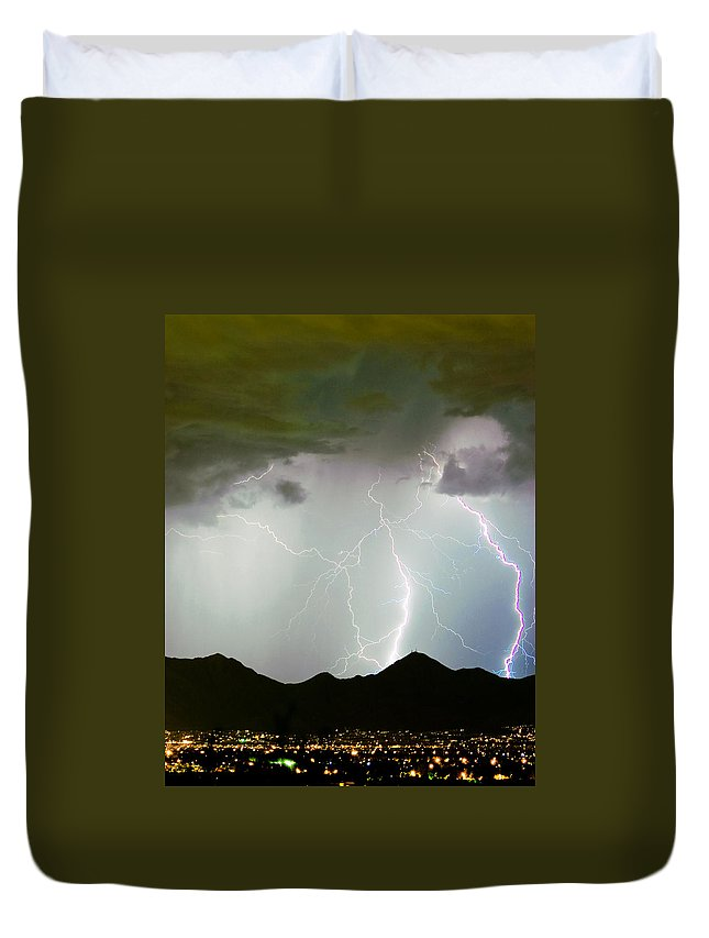Lightning Duvet Cover featuring the photograph Midnight Hour by James BO Insogna