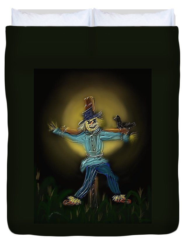 Moon Duvet Cover featuring the painting Midnight In The Cornfield by Kevin Caudill
