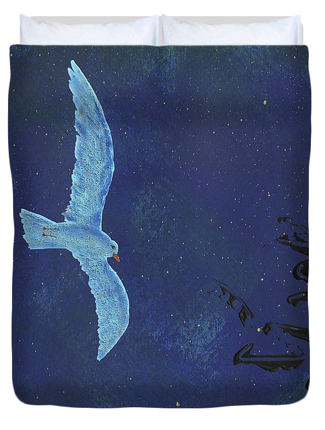 Bird Duvet Cover featuring the painting Midnight by Manuello Sueess