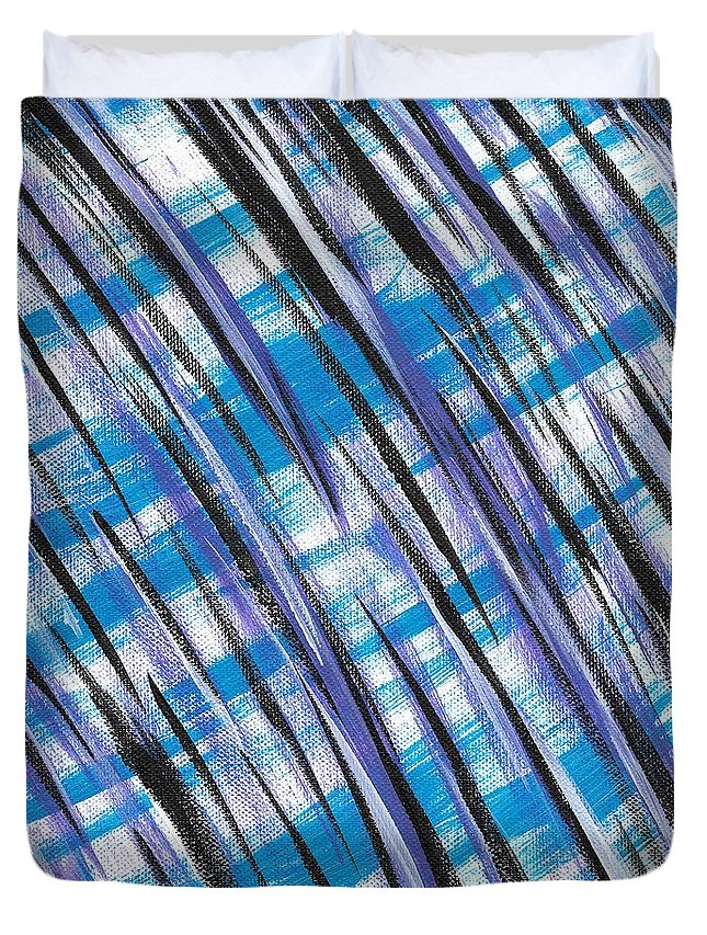 Abstract Duvet Cover featuring the painting Midnight Over Spring by Eric Atherton