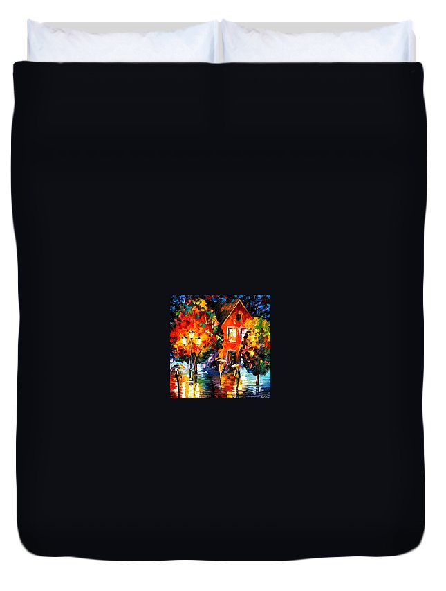 Afremov Duvet Cover featuring the painting Midnight Rain by Leonid Afremov