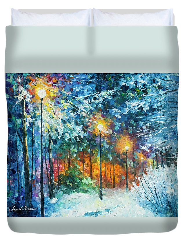 Art Duvet Cover featuring the painting Midnight Snow Songs by Leonid Afremov