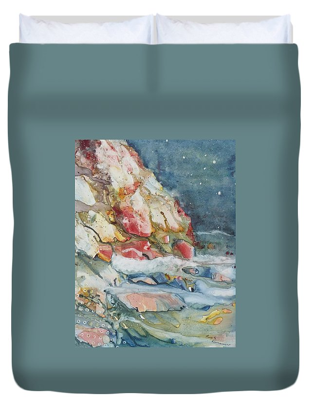 Abstract Duvet Cover featuring the painting Midnight Surf by Ruth Kamenev