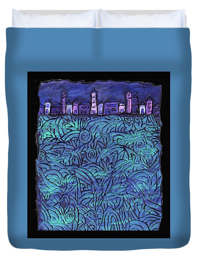 Night Duvet Cover featuring the painting Midnight by Wayne Potrafka