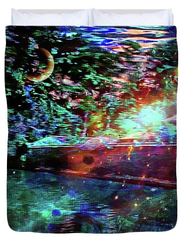 Midsummer Night At The Manor Duvet Cover featuring the mixed media Midsummer Night At The Manor by Jolanta Anna Karolska