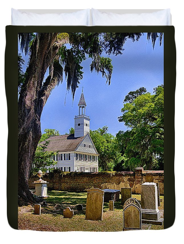 Church Duvet Cover featuring the photograph Midway Congregational Church by Priscilla Burgers
