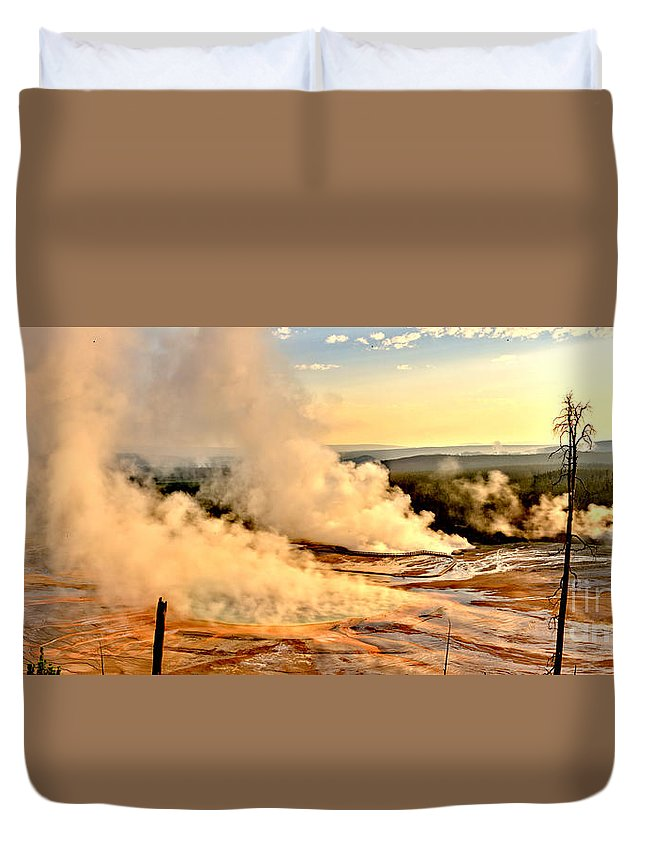 Grand Prismatic Duvet Cover featuring the photograph Midway Geyser Basin Steamy Sunrise by Adam Jewell