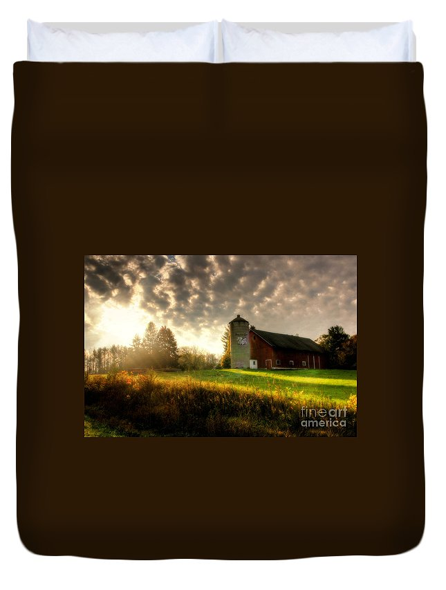 Sunrise Duvet Cover featuring the photograph Midwest Morning by Joel Witmeyer