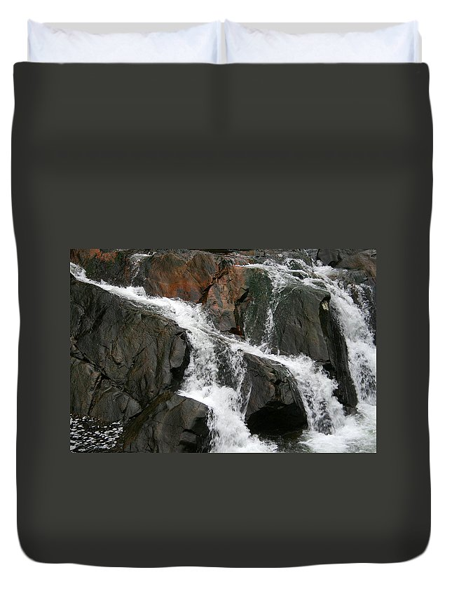 Water Waterfall Rush Rushing Cold River Creek Stream Rock Stone Wave White Wet Duvet Cover featuring the photograph Might by Andrei Shliakhau