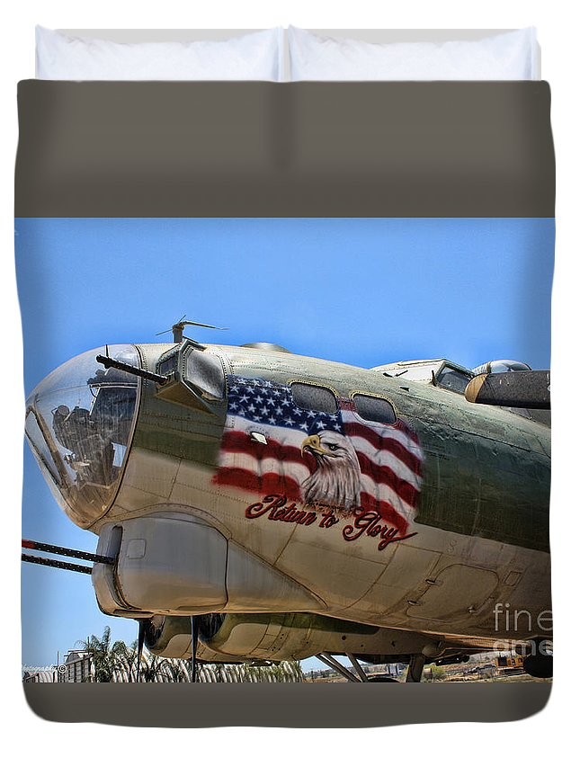 Boeing B-17 Flying Fortress Duvet Cover featuring the photograph Mighty B-17 Fortress by Tommy Anderson