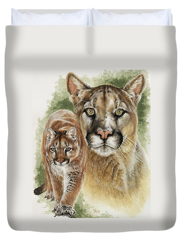 Cougar Duvet Cover featuring the mixed media Mighty by Barbara Keith