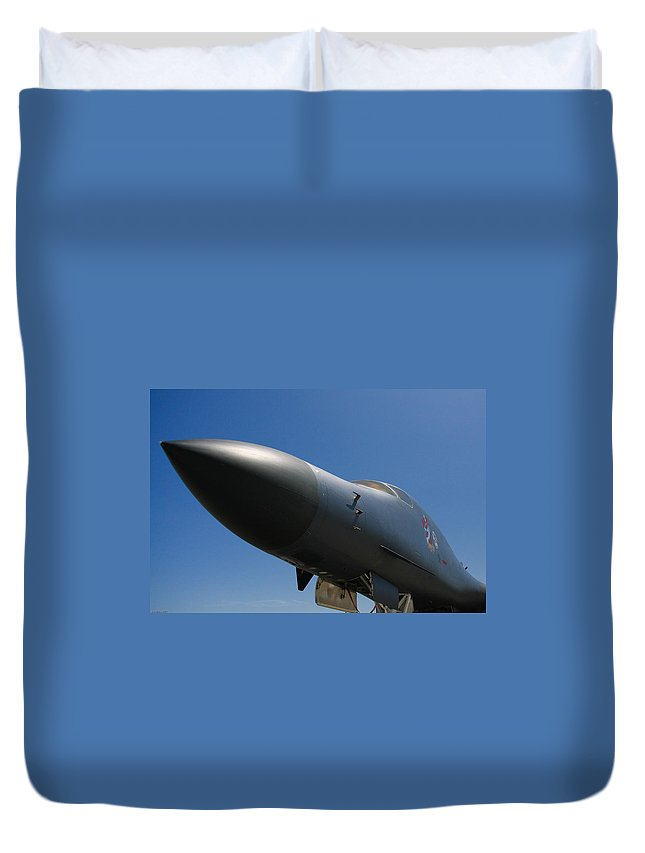 B-1 Duvet Cover featuring the photograph Mighty Bomber by Bob Mintie