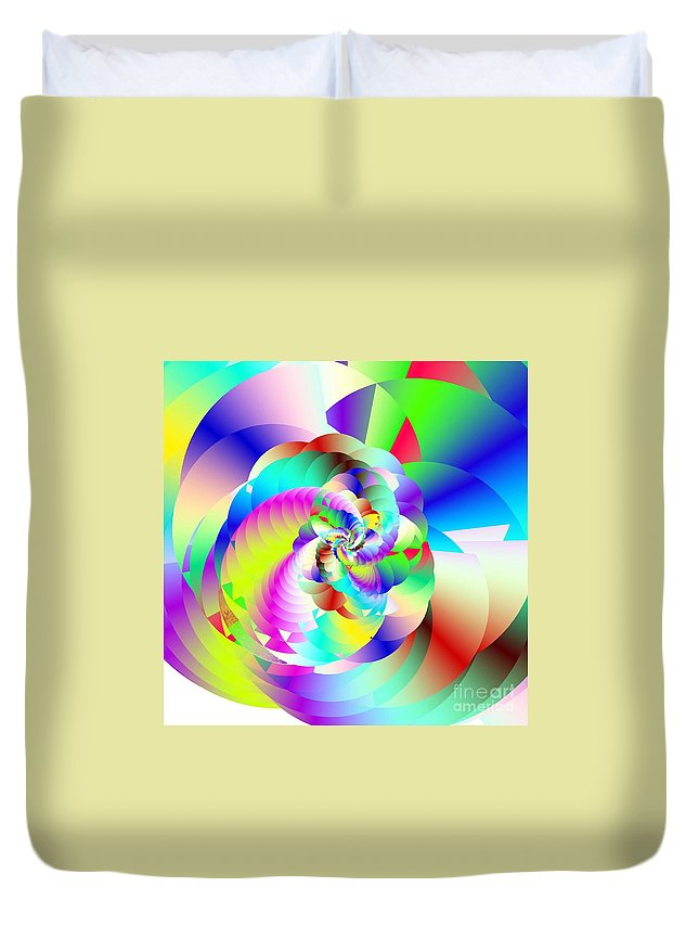 Rainbow Fractal Clouds Duvet Cover featuring the digital art Mighty Clouds Of Joy by Michael Skinner