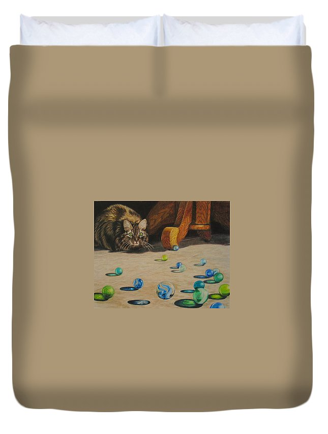 Cats Duvet Cover featuring the drawing Mighty Hunter by Karen Ilari