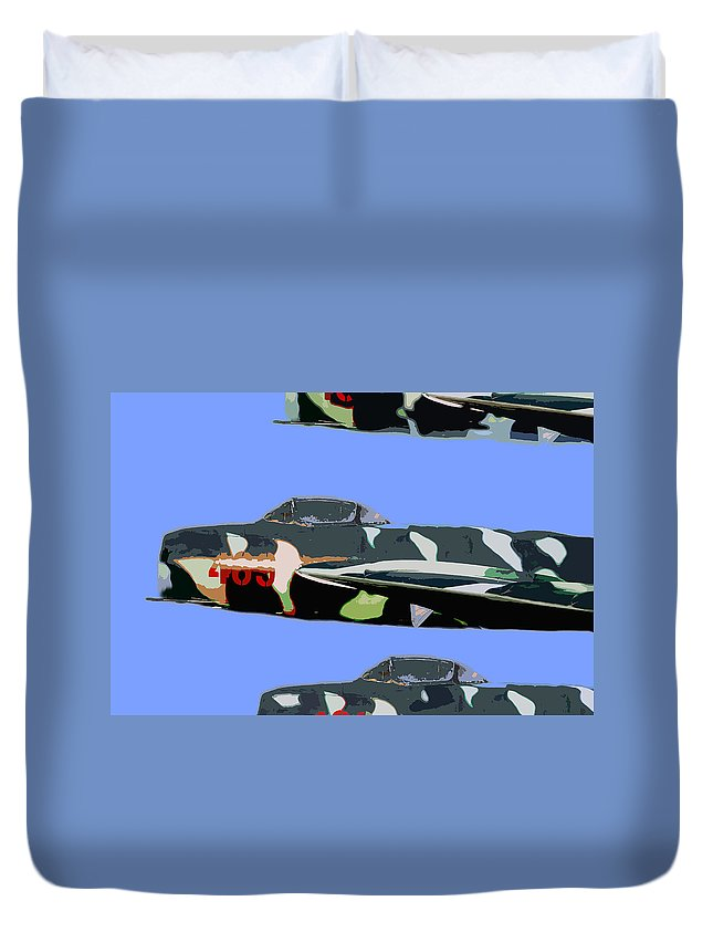 Mig Duvet Cover featuring the painting Migs In Formation by David Lee Thompson