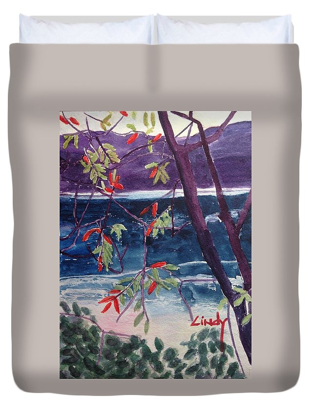 Reflections Duvet Cover featuring the painting Miike Reflections-2 by Cindy McLean