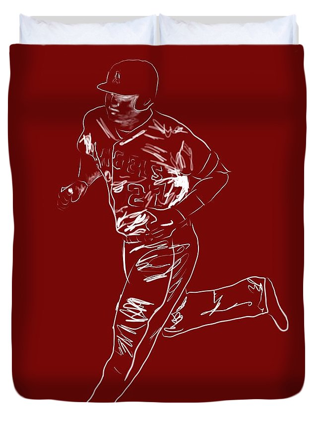 Mike Trout Duvet Cover featuring the painting Mike Trout Home Run Trot by Jack Bunds