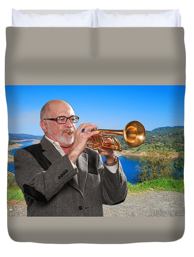 Mike Vax Duvet Cover featuring the photograph Mike Vax Professional Trumpet Player Photographic Print 3761.02 by M K Miller