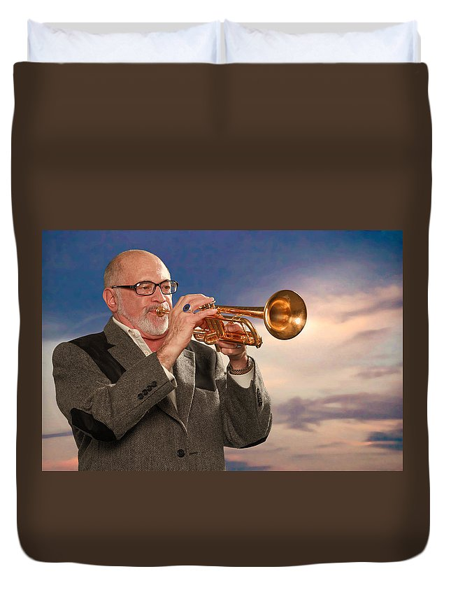 Mike Vax Duvet Cover featuring the photograph Mike Vax Professional Trumpet Player Photographic Print 3765.02 by M K Miller