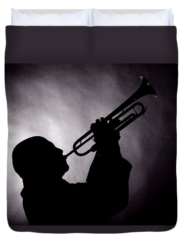 Mike Vax Duvet Cover featuring the photograph Mike Vax Professional Trumpet Player Photographic Print 3768.02 by M K Miller