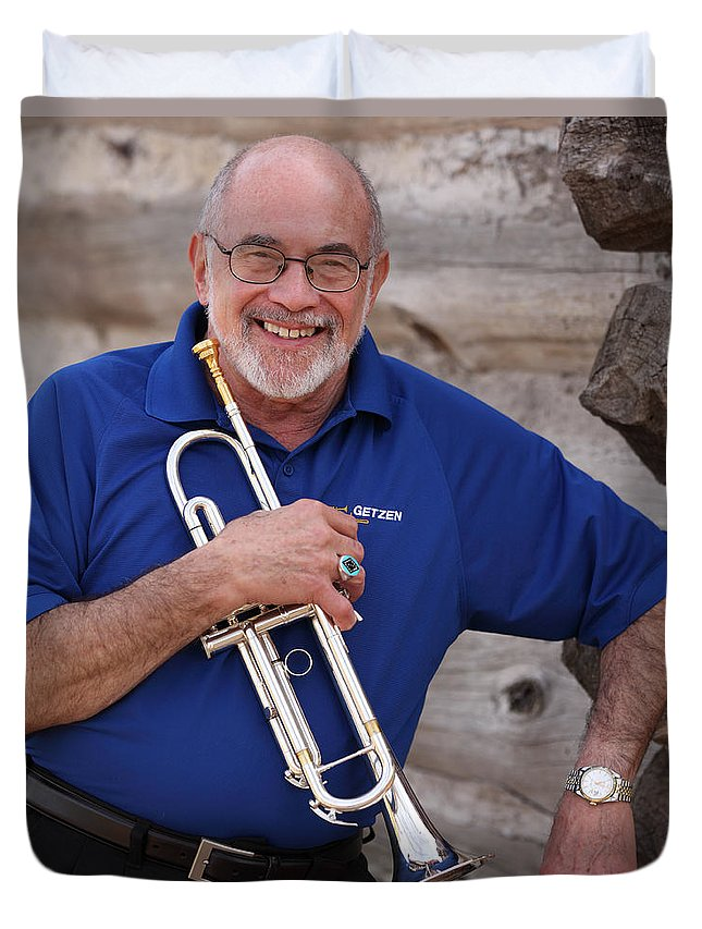 Mike Vax Duvet Cover featuring the photograph Mike Vax Professional Trumpet Player Photographic Print 3770.02 by M K Miller