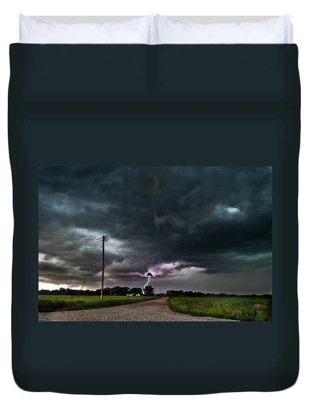 Lightning Duvet Cover featuring the photograph Mikey's Lightning by Eric Benjamin