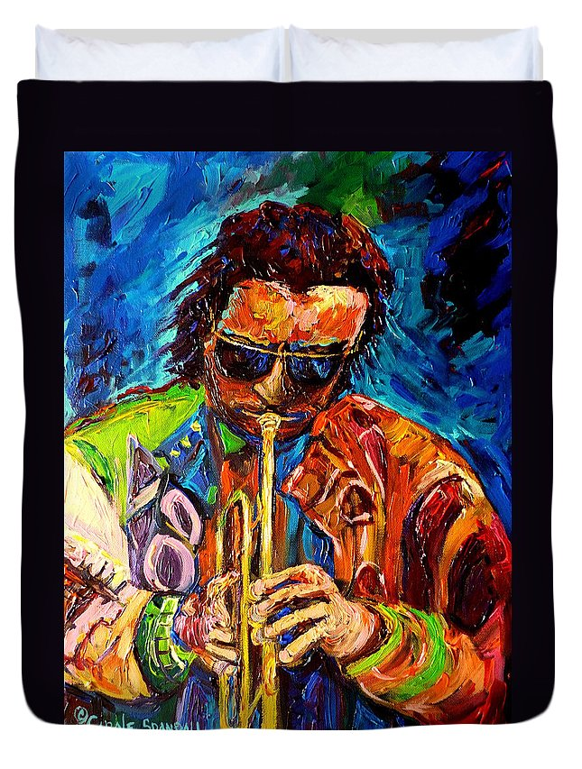 Miles Davis Hot Jazz Duvet Cover featuring the painting Miles Davis Hot Jazz Portraits By Carole Spandau by Carole Spandau