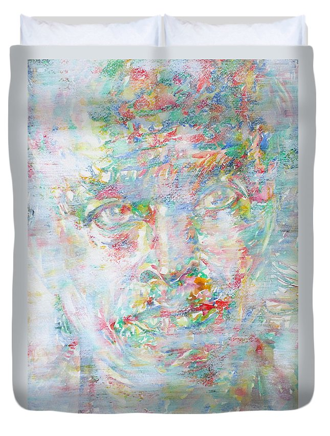 Miles Duvet Cover featuring the painting Miles Davis - Watercolor Portrait.4 by Fabrizio Cassetta
