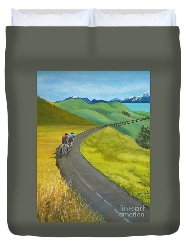 Bicycles Duvet Cover featuring the painting Miles To Go by Kris Crollard