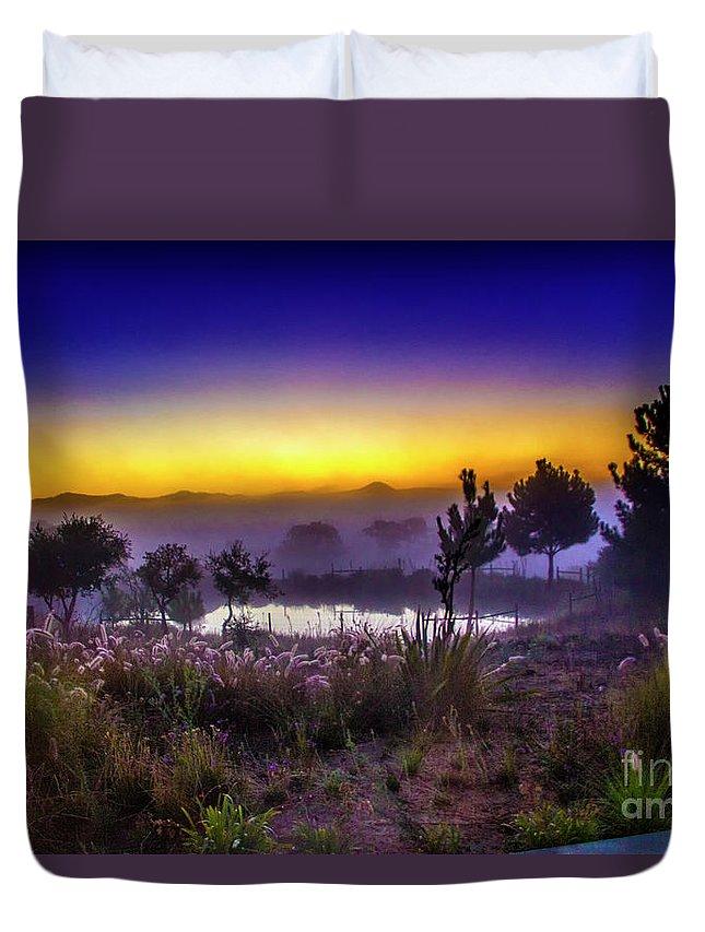 Milfontes Duvet Cover featuring the photograph Milfontes Sunrise by Roberta Bragan