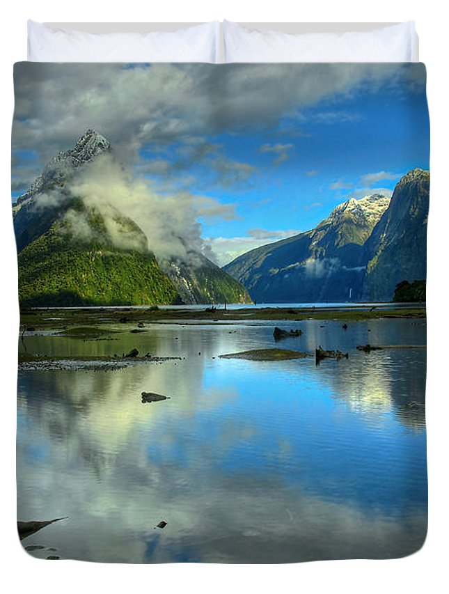 Milford Sound Duvet Cover featuring the photograph Milford Sound by Peter Kennett