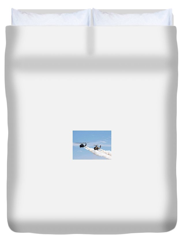 Helicopters Duvet Cover featuring the photograph Military Helicopters by Amara Dempsey