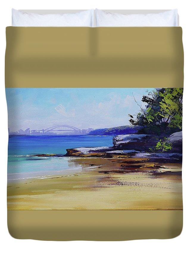 Sydney Duvet Cover featuring the painting Milk Beach Sydney by Graham Gercken