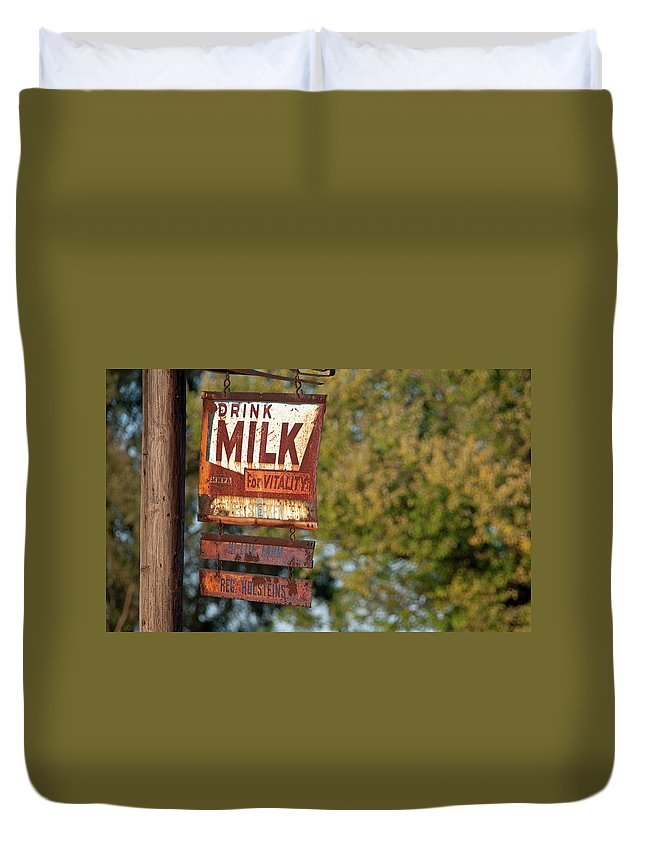Milk Duvet Cover featuring the photograph Milk Sign by David Arment