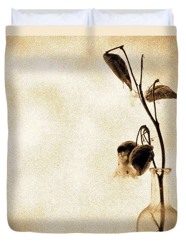 Plant Duvet Cover featuring the photograph Milk Weed In A Bottle by Bob Orsillo